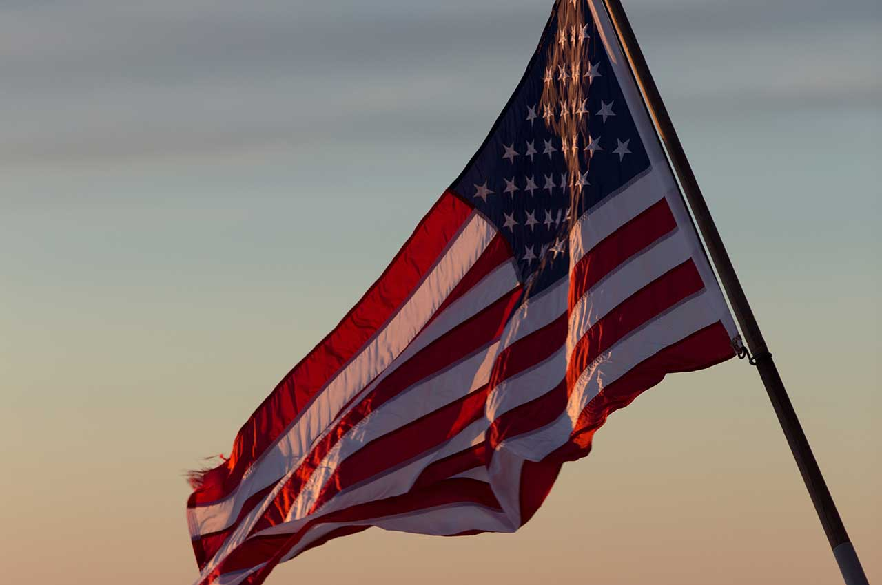 American Flag at Dusk